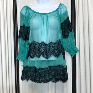 Anthropologie A Reve Sheer Green Tunic Blk Lace S